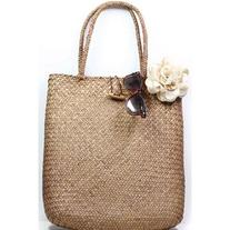 LUCLUC Brown Weaving Straw Tote Bag