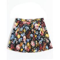 LUCLUC Floral Print Mini Skater Skirt
