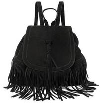 LUCLUC Tassels Magnetic Black Trendy Expandable Backpacks Bag