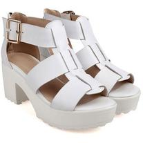 LUCLUC White Buckle Strap Heavy Bottomed Sandals