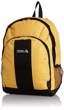 Everest Luggage Backpack with Front and Side Pockets, Black