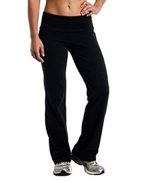 Alki'i Luxurious Cotton Lycra Fold over Yoga Pants, Black S