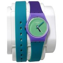 Swatch LV117 Fun In Blue Green Analog Dial Purple Silicone