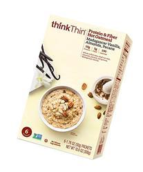 thinkThin Protein and Fiber Hot Oatmeal, Madagascar Vanilla