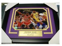 Magic Johnson Signed Picture - Vs Michael Jordan Psa 8x10