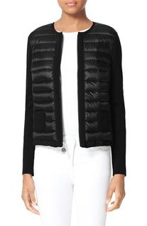 Women's Moncler Maglia Quilted Down Front Tricot Cardigan,