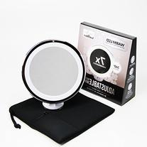 7x Magnifying Lighted Makeup Mirror. Warm LED Tap Light