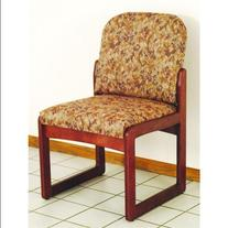 Mahogany Finish Armless Chair w Sled Base in s