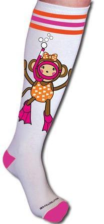 Maisy Monkey Socks Swim Hot Pink M/L
