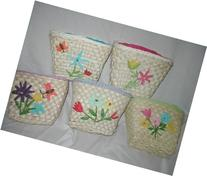 Maize Purse with Flower Design in Fresh Spring Colors