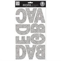 Mambi Large Alphabet Stickers 8 Sheets 7X12-Silver Glitter