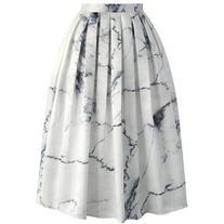 Chicwish Marble Chic Printed Midi Skirt