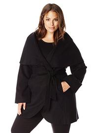 T Tahari Women's Plus-Size Marla Oversized Coat, Black, 3X
