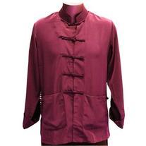Maroon Silk Kung Fu Jacket, Size M