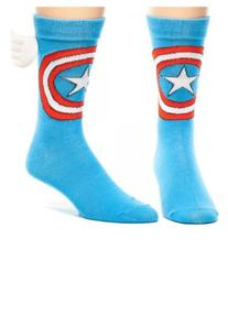 Marvel Captain America w/ Wings Crew Socks Blue sock size 10