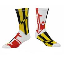 TCK Maryland Flag Crew Socks, White, X-Large