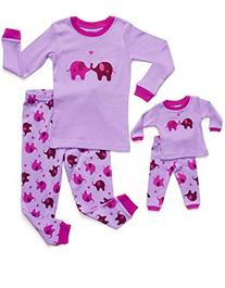 Leveret Matching Doll & Kid Elephant 2 Piece Pajama 4 Year