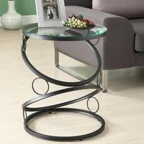 Monarch Specialties MATTE BLACK METAL ACCENT TABLE WITH TEMPERED GLASS - I 3317
