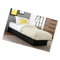 Maven Upholstered Faux Leather Platform Bed, Black, Multiple