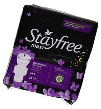 Stayfree Maxi Pads, Overnight with Wings, 28 Count