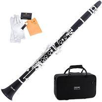 Mendini MCT-40 Intermediate Solid Ebony Wood B Flat Clarinet