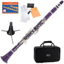 Mendini MCT-P+SD+PB Purple ABS B Flat Clarinet with Case,