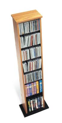 Oak Slim Multimedia Storage Tower for CD, DVD and VHS
