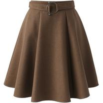 Chicwish Girls Meet Vogue Wool-blend Skirt in Tan