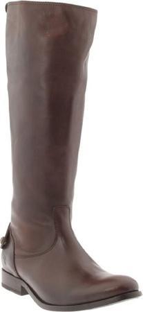 FRYE Women's Melissa Button Back-Zip Boot, Dark Brown Smooth