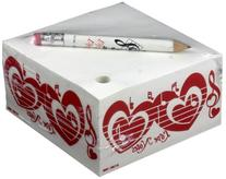 "CMC Memo Cube With Pencil - ""Love Notes"