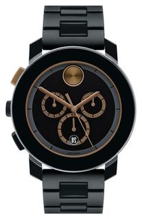 Men's Movado 'Bold' Chronograph Bracelet Watch, 44mm - Black