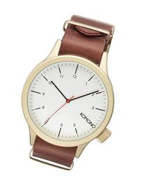 Men's Komono 'Magnus' Round Leather Strap Watch, 46Mm