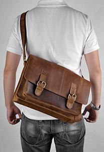 ZLYC Men Vintage Leather Briefcase 15.6 Inch Laptop Bag