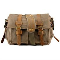 Men's Vintage Canvas and Leather Satchel School Military