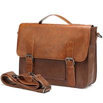 Men Vintage PU Leather Briefcase Laptop Shoulder Messenger