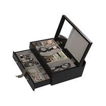 Top Quality Mens Black Wood Valet Storage Box Organizer