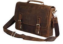 """Kattee Men's Crazy Horse Leather Satchel Briefcase, 14"""""""