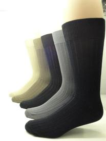 Men's Mercerized Cotton Ribbed Dress Socks