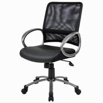 Boss Office Products B6406 Mesh Back Task Chair with Pewter