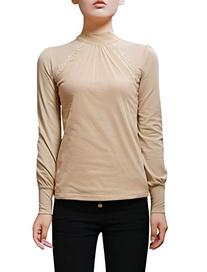 Allegra K Woman Mesh Panel Front Pullover Casual Slim Top