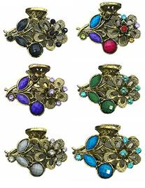 Pack of 6 Small Metal Jaw Clips with Beads and Rhinestones