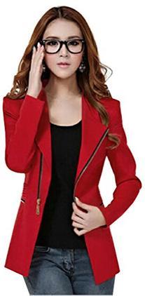 Womens Metal Zip Skinny Jackets long Sleeve Blazer Suit Coat