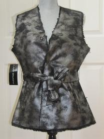 Via Spiga Metalic Faux Fur Vest Silver/black Womens Size