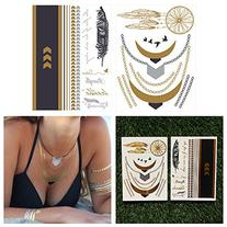 Tattify Metallic Jewelry And Quotes Temporary Tattoos -