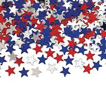 Creative Converting Metallic Star Confetti, Red, White and
