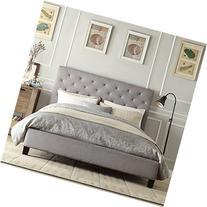 Metro Shop INSPIRE Q Kingsbury Grey Linen Tufted Upholstered
