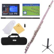 Mendini Closed Hole C Pink Flute with Tuner, Stand, 1 Year