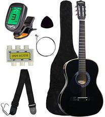 """Crescent MG38-BK 38"""" Acoustic Guitar Starter Package, Black"""