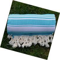 Miami Blue Turkish Towel Peshtemal - 100% Natural Dyed