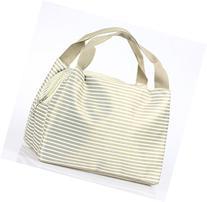 Micom Strip Canvas Picnic Lunch Tote Bag Travel Zipper Tote